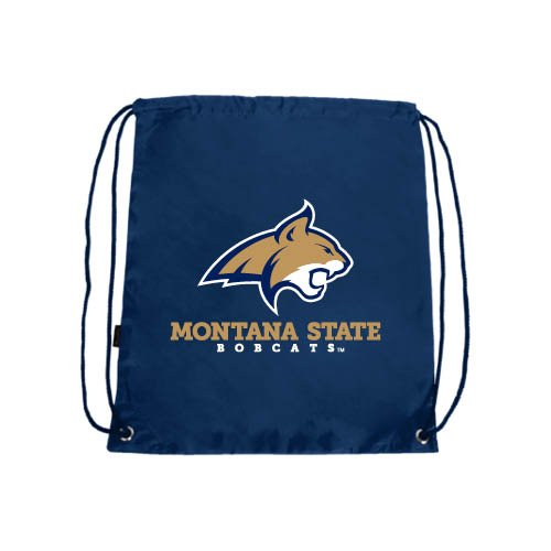 CollegeFanGear Montana State Navy Drawstring Backpack 'Bobcat Head w/Montana State Bobcats Stacked'