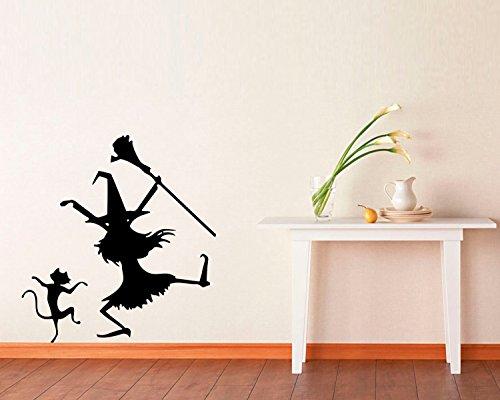 Halloween Vinyl Wall Decals Witch on the Broom Halloween Fly Spells Decor Stickers Vinyl Mural MK4457 ()