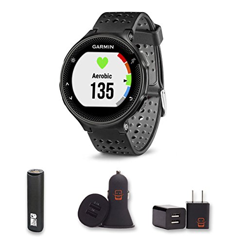 Garmin Forerunner 235 Black Gray Bundle with PowerBank USB Car Charger USB Wall Charger 4 Items