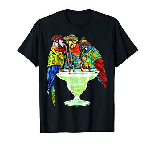 Parrots Drinking Margarita Hawaiin Shirt Vacation Birds  T-Shirt