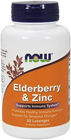 NOW Supplements, Elderberry & Zinc (Elderberry Concentrate with Zinc and Vitamin C, Plus Echinacea, Propolis and Slippery Elm), 30 Lozenges