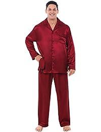 Mens Satin Pajamas, Long Button-Down Pj Set