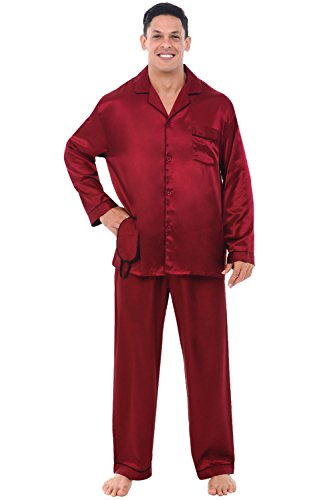 Alexander Del Rossa Men's Button Down Satin Pajama Set with Sleep Mask, Long Silky Pjs, Medium Burgundy with Black Piping (A0752BGBMD)]()