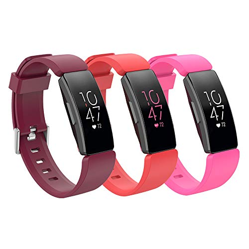 Watermelon Buckle - Fitbit Inspire HR Sport Band Accessories Watchbands, 12 Color Classic Replacement TPU Watch Band with Stainless Buckle for Fitbit Inspire HR Smartwatch Large (watermelon red+ wine red + pink, large)