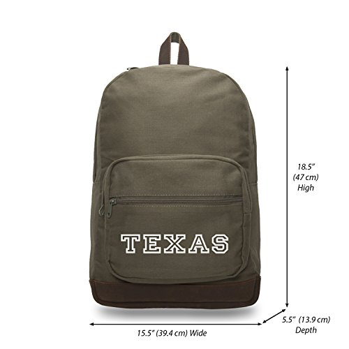 Texas Canvas Teardrop Backpack with Leather Bottom Olive & Wh