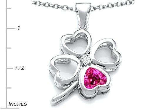 Star K Sterling Silver Large 7mm Heart Shape Lucky Clover Heart Pendant Necklace