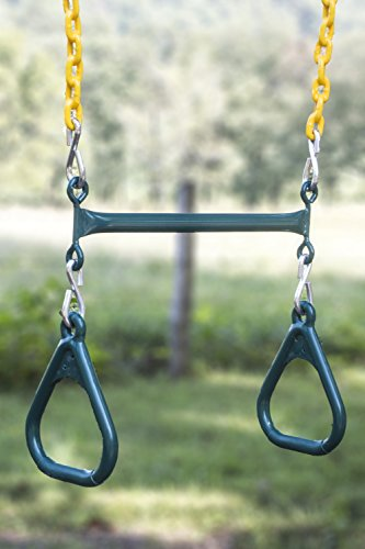 (Abeaco Heavy Duty Playground Trapeze Bar with Rings Extra Long 38 Inch Chain Swing Set (Trapeze Bar))