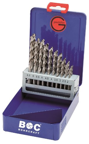 Bohrcraft Spiralbohrerset HSS-G DIN 338 geschliffen Typ N in Industriekassette, 50-teilig, 1-5,9 x 0,1 mm steigend, MG 591, 1 Stü ck, 11201410050