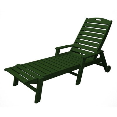 Chaise Nautical Lounge Wheel (Nautical Wheel Chaise Lounge with Arms Finish: Green)