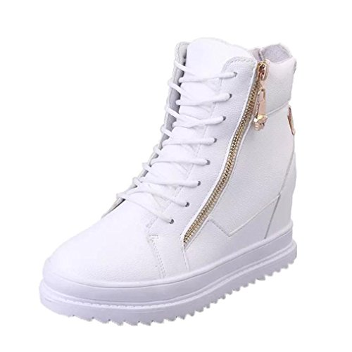 SUKEQ Women PU Leather Hidden Wedges High Heel Ankle Boots Zipper Lace Up Sneaker Shoes Chaussure (7.5 B(M) US, White)