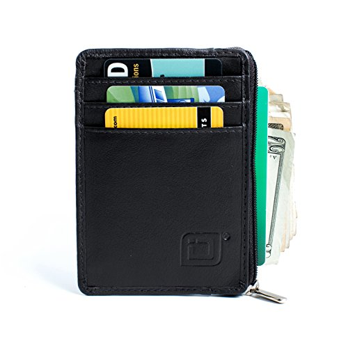 ID STRONGHOLD RFID Front Pocket Wallet Mini Minimalist Wallet Slim Wallet Genuine Leather with Zipper , Black , Small (Zipper Slim)