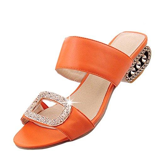 Sandali Con Tacco A Spillo Open Toe Alla Moda Donna Easyemax Con Strass Arancio