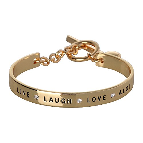 BCBG Generation 12k Crystal Live Laugh Love Cuff Bracelet