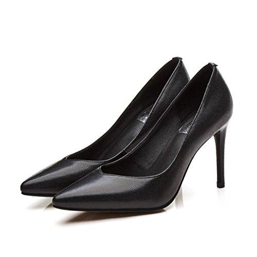 AJUNR Sandali Alla Da Donna Alla Sandali Moda Scarpe singole teste appuntite tacchi sottili night clubs sexy scarpe nero 9cm alto scarpe con tacco 37 37 b0d4b9