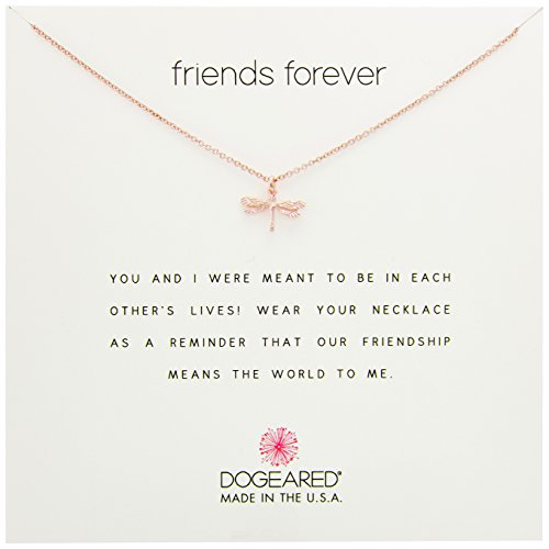 (Dogeared Rose Gold Friends Forever Dragonfly Chain Necklace, 16