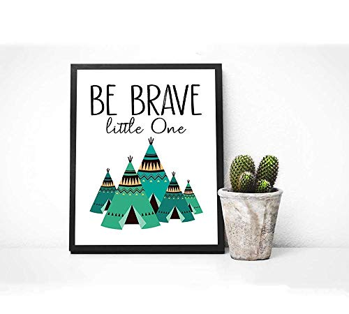 "Woodland Fox Print - 8"" x 10"" - Unframed, Be Brave Little One Poster, Nursery Wall Art, Mountains Nursery Decor, Boy Room Fox Woodland Art, Fox Kids Room Decor, Tribal Animals Set of 3"