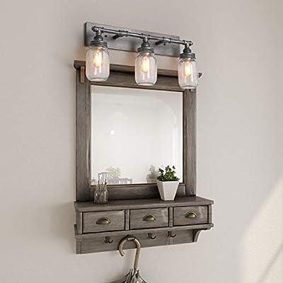 "LNC Large Vanity Lights, Industrial 3-Light 24.4"" Mason Jar Wall Sconce, Silver Plating with Black Finish Bathroom Vanity Light"