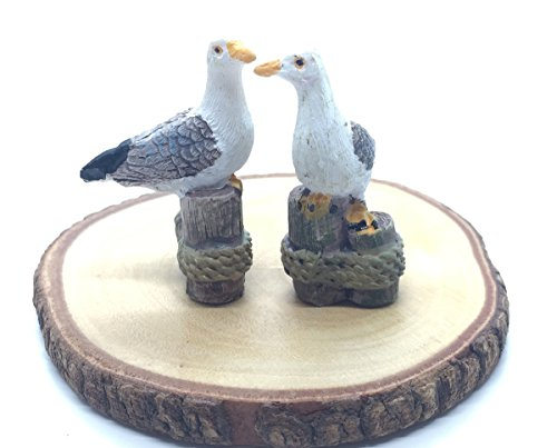 2 pieces of Miniature Dockside Seagulls Standing on Pier Stake StatueFigurine Animal for Decoration in Dollhouse, Fairly Garden or Succulent terrarium