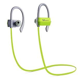 SAVFY Écouteurs Bluetooth 4.1 Casque de Sport Oreillettes de Course Sweatproof Bluetooth Sans Fil Audio Intra-Auriculaires CVC 6.0 Réduction du Bruit avec Microphone Intégré Mains-Libres pour Apple iPhone, Samsung, iPad,iPod,Windows ,Smartphone et d'autres Appareils Bluetooth (Vert)