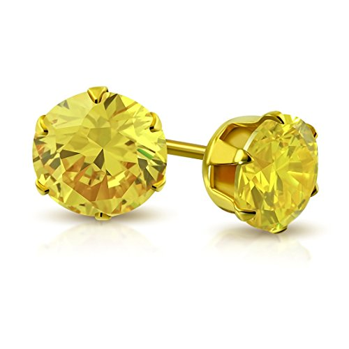 Stainless Steel Gold Color Plated Prong-Set Round Circle Stud Earrings with Yellow CZ (pair)