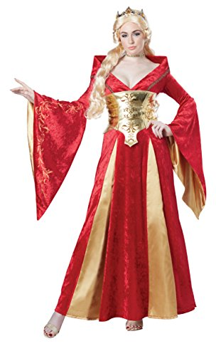 Medieval Queen Fancy Dress Costume (California Costumes Women's Medieval Queen Costume, Red/Gold, Small)