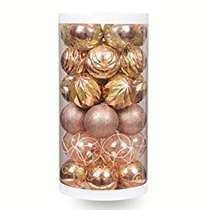 "ChristmasExp 24ct 60mm/2.36"" Christmas Ball Ornaments Shatterproof Painting & Glitering Christmas Decorations Tree Balls Holiday Xmas Party Decoration Tree Ornaments … 76"