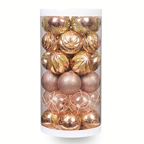 """ChristmasExp 30ct Shatterproof Painting & Glitering Christmas Balls Holiday Xmas Party Decoration Tree Ornaments 2.36""""(Champaign), Champagne"""