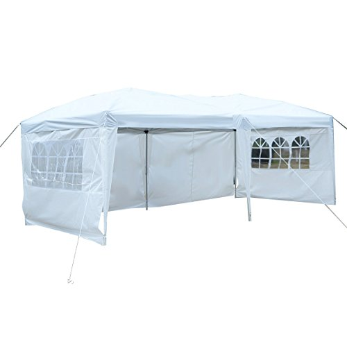 Tangkula 10'X20' EZ POP UP Tent Gazebo Wedding Party Folding Canopy Carry Bag Cross-Bar (White)