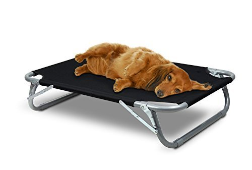 Small to Medium Elevated Pet Cot with Steel Frame - Foldable Raised Play and Rest Bed for Dogs and Cats with Bonus Storage Bag - 35'' x 24'' - by GigaTent by GigaTent (Image #3)