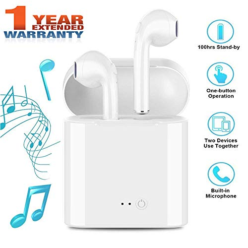 Bluetooth Earbuds Stereo Bluetooth Headphones Earphones Earbud with Mic Mini in-Ear Earbuds Earphones Earpiece Sweatproof Sports Wireless Earbuds Compatible iPhone X 8 7 6 Plus Android Phone by BERNULYCO