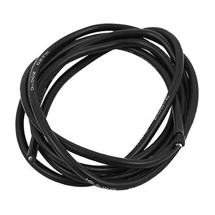eDealMax Alambre DE 16 AWG 1 Metro Negro Calibre del Cable de cobre trenzado Flexible de