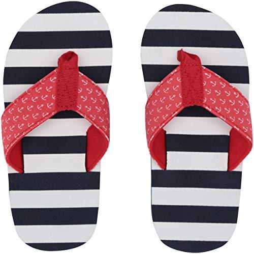 (Hatley Big Boys' Flip Flops, Nautical Stripes, XX-Large (2-3 US Shoe Size))