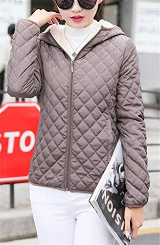 Vendita Giacca Moda Spesso Grazioso Eleganti Invernale Corto Cappotto Incappucciato Addensare Lunghe Velluto Cappotto Signore Outerwear Trapuntato Trapuntata Monocromo Giacca Kahki Caldo Maniche rg567ngpwq