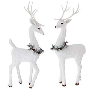 Set of 2 Holiday Deer 24 Inches High Each - 2 Foot Tabletop Reindeer Pair