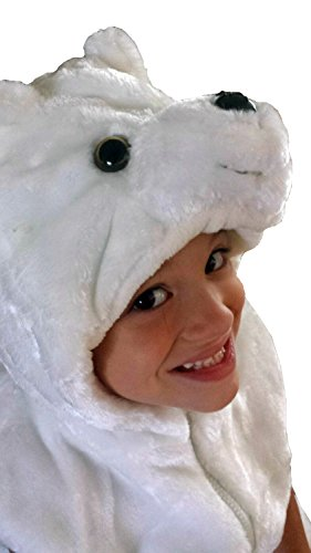 Fashion Vest with Animal Hoodie for Kids - Dress Up Costume - Pretend Play (Medium, White Polar Bear) ()