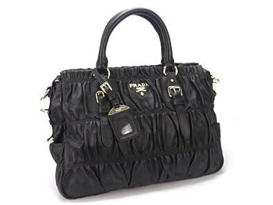 1b7faefc0a21dc Prada BN1336 Gauffre Ruched Leather in Black: Handbags: Amazon.com