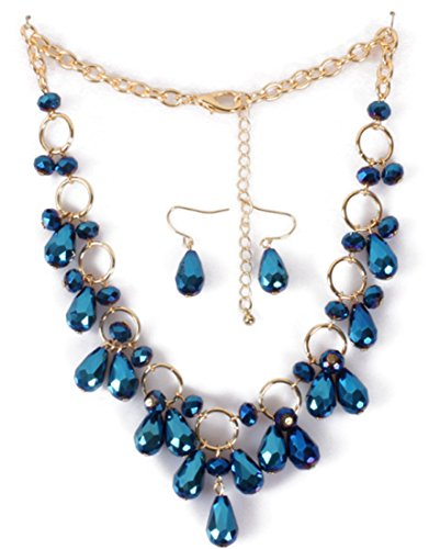 Shineland Drop Tassels Face Crystal Glass Bead Collarbone Chain Necklace And Earring Set (Blue)