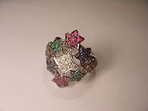 Magnificent 18K White Gold Diamond Multi-Color Sapphire Stars Cocktail Ring