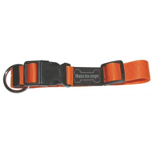Wouapy Basic Line Collar for Dog, 20 mm Width, Neck Size 39/60 cm, Orange