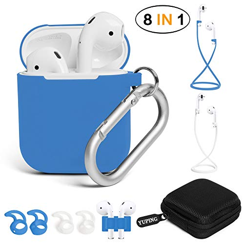 Ear Straps - YUPING AirPods case Designed Separately Silicone Protective Cover,2 Anti-Lost Strap/2 Pairs of Ear Hooks/Airpods Watch Band Holder/Carabiner/Headphone Case Compatible for Apple AirPods(8 in 1)-Blue