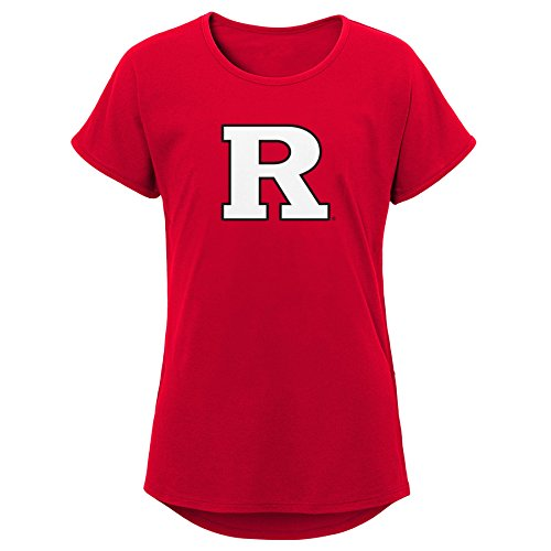 NCAA Rutgers Scarlet Knights Youth Girls Primary Logo Dolman Tee, Youth Girls X-Large(16), Red
