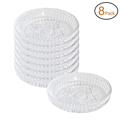 Crystal Clear Coaster Set - 8 Circular Crystal Clear Pinwheel Glass Drink Coasters Look Stylish & Prevent Water Rings On Furniture - Complements Any Décor & Makes Perfect Hostess, Gift, 4.3