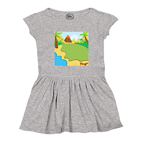 Cute Rascals Volcano Jungles Short Sleeve Taped Neck Girl Cotton Toddler Rib Dress School Clothes - Oxford Gray, 4T (Oxford Volcano)