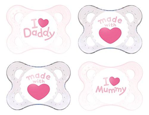 MAM Schnuller Original Silikon 0-6 Monate I Love Mummy & Daddy, 4 Stück, für Mädchen