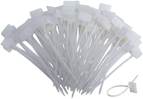 Huouo 200 PCS 4 Inches Nylon Cable Ties Self-Locking Cord Tags Marker Label Write on Ethernet Wire Zip Ties Power Marking Label