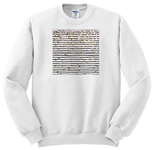 attern - Image Of Black and White Hand Painted Stripes With Gold and Pink Confetti - Sweatshirts - Youth Sweatshirt Large(14-16) (SS_267610_12) ()