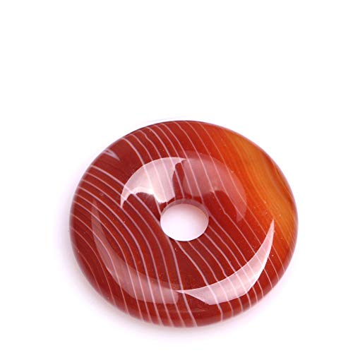 35mm Natural Semi Precious Donuts Rings Red Onyx Sardonyx Agate Gemstone Beads for Jewelry Making Strand 15