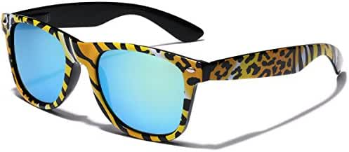 Retro Fashion Jungle Animal Print Sunglasses with Rainbow Mirror Lens