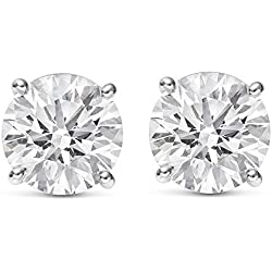 1/2 - 2 Carat Total Weight Round Diamond Stud Earrings 4 Prong Push Back (I-J Color SI2-I1 Clarity)