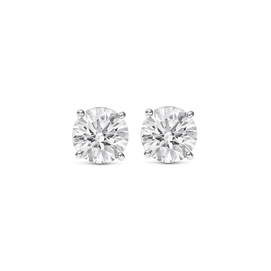 1/2 2 Carat Total Weight Round Diamond Stud Earrings 4 Prong Push Back (H I Color I2 Clarity)